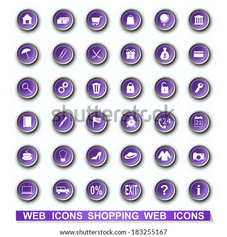 vector illustration set of shopping icons  - eps10 - stock vector