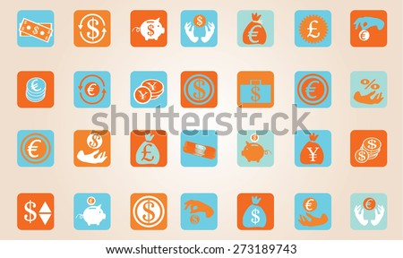 Vector illustration, set of simple retro color style money related icons financial pictogram currency  symbols isolated on orange background, wallpaper logo template design. No transparencies applied. - stock vector