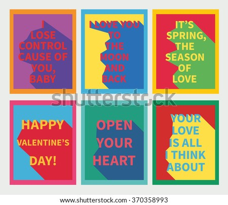 Vector illustration: set of six motivation posters with love slogan with diagonal shadow in flames made in bright colors and pop-art style - stock vector