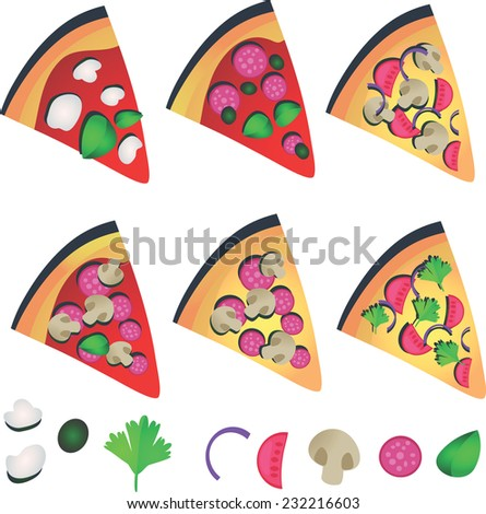 Vector illustration , Set of six pizza slice toppings ingredients , isolated on white background - stock vector