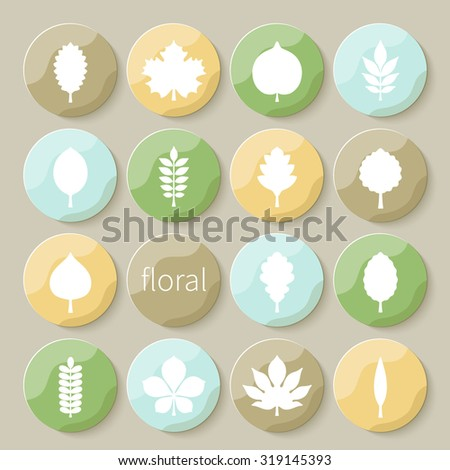 Vector illustration: set of sixteen circle varicolored 3d glossy badges with white silhouettes of different tree leaves isolated on creamy background - stock vector