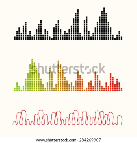 Vector illustration set of sound equalizer visualization. Easy to edit, clear and simple. - stock vector