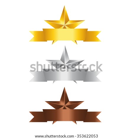 Vector illustration, Set of Stars with ribbon. Gold Star, Silver Star and copper Star  with space for your text. - stock vector