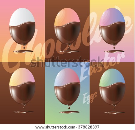 Vector illustration set of tasty chocolate easter egg candy. Colorful realistic easter egg icons with dripping chocolate. - stock vector