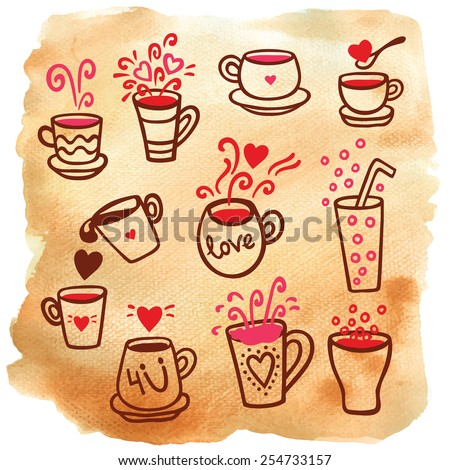 Vector illustration set of tea collection with a tea pot, tea cup, jars, jugs on aged paper. In vintage style. - stock vector