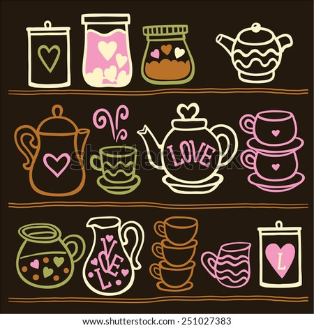 Vector illustration set of tea collection with a tea pot, tea cup, jars, jugs on the shelves. In vintage style. Valentines day card. - stock vector