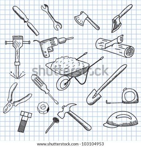 vector illustration set of tools - stock vector
