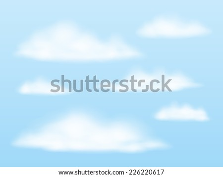 Vector illustration. Set of transparent different clouds. - stock vector