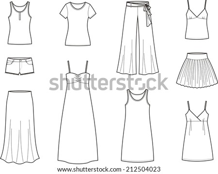 Vector illustration. Set of women's summer clothes - stock vector