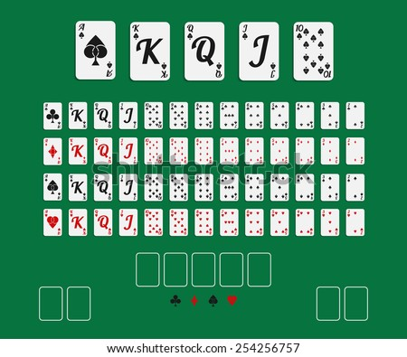 Vector illustration. Set 52 playing cards with creative suits on green background. - stock vector