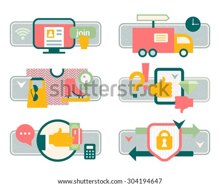 Vector illustration set purchasing product via internet, shopping communication and delivery service. Registration, product search, payment, delivery, ratings and reviews,  buyer protection refunds. - stock vector