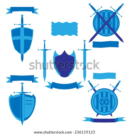 Vector illustration set -  shield and sword with flags.  Isolated on white background. EPS10. - stock vector