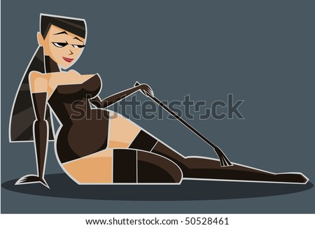 Vector illustration: sexy girl in lingerie with crop. - stock vector