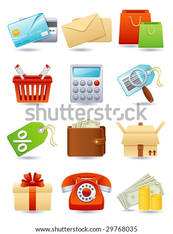 Vector illustration - shopping icon set - stock vector
