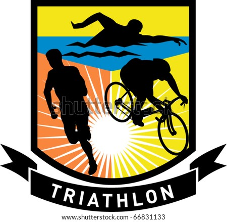 vector illustration showing the sport of triathlon with triathlete athlete swimming, biking or cycling and running - stock vector