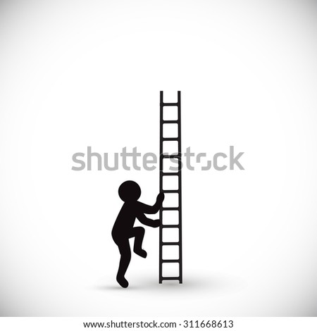Vector illustration silhouette man climbs stairs up. Isolated on white background.  - stock vector