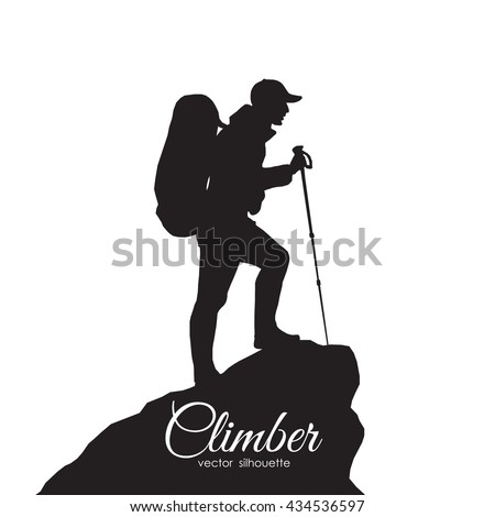 Vector illustration: Silhouette of a climber. Isolated hiker on white background - stock vector