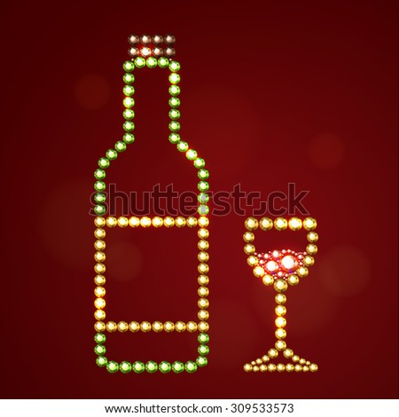 Vector illustration:  silhouette of bottle of vine with label and plug and wineglass with red wine made of golden, green, red and brown crystals isolated on dark red background - stock vector