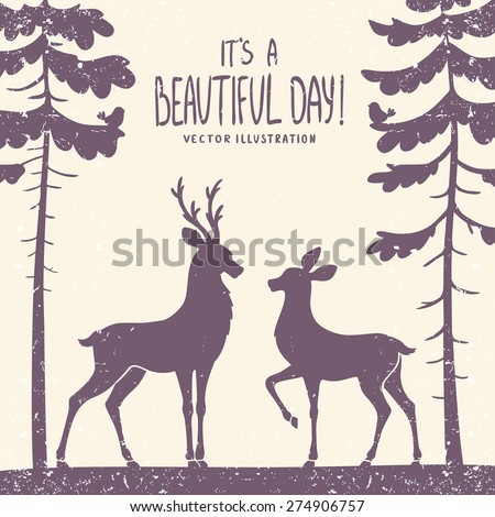 vector illustration silhouette of two beautiful deer in a pine forest - stock vector