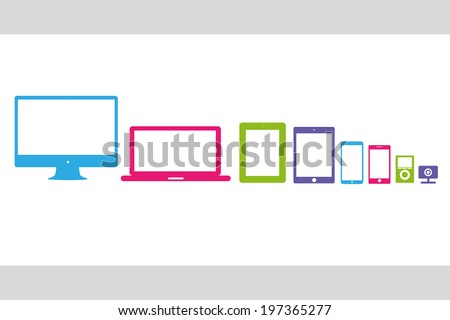 vector illustration silhouettes colored gadgets - stock vector
