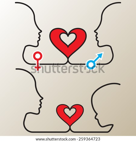 Vector illustration silhouettes of loving couple and parents with child - stock vector