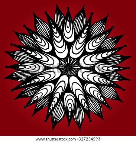 Vector illustration, simple mandala flower, white petals, card concept. - stock vector