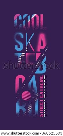 vector illustration skateboard freestyle street style legendary rider, graphics for t-shirt ,vintage design - stock vector