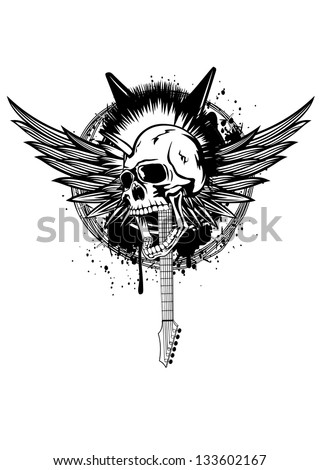 Vector illustration skull punk with wings, guitars and barbed wire - stock vector