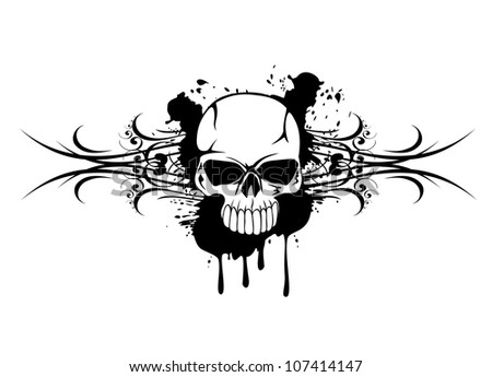 Vector illustration skull with patterns - stock vector
