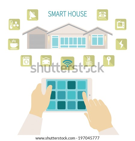 Vector illustration smart house remote wireless management concept with tablet PC - stock vector