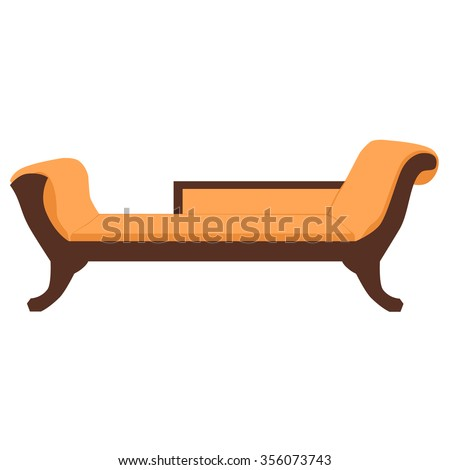 Vector illustration sofa, divan or couch. Classic vintage furniture - stock vector