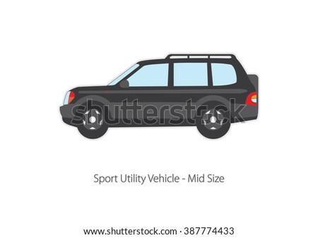 Vector illustration sport terrain vehicle. SUV. - stock vector