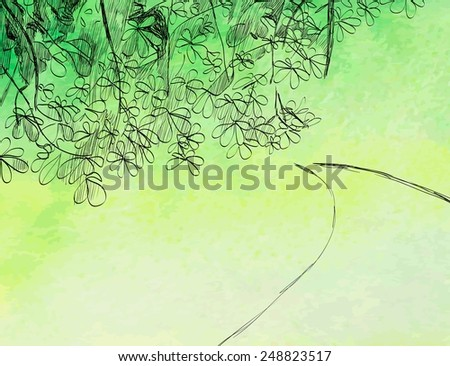 vector illustration spring nature with  road and foliage - stock vector