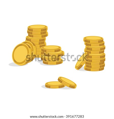 Vector illustration stack of golden coins. Coins icons. - stock vector