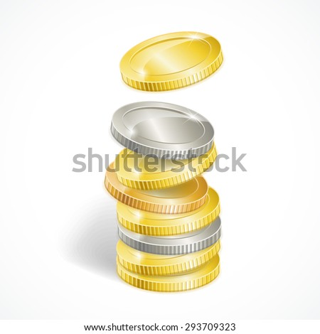 Vector illustration stacks of golden and silver coins isolated - stock vector