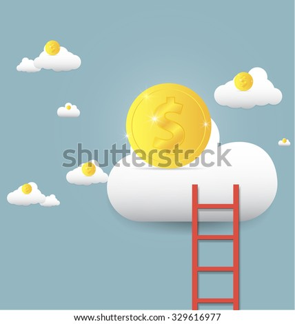 vector illustration stairs leading to gold coin on clouds, Growth up and success concept - stock vector