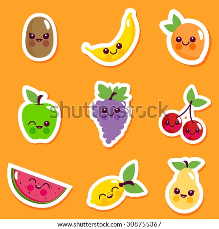 Vector illustration sticker set of cute cartoon fruit characters. - stock vector