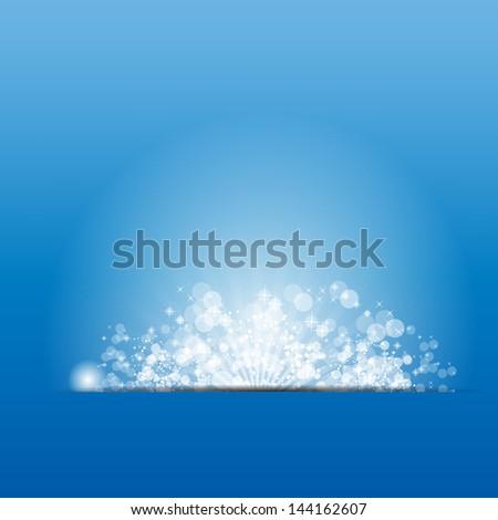 Vector illustration sun on blue background. - stock vector