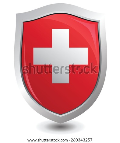 Vector illustration switzerland of shield : Attention concept. - stock vector