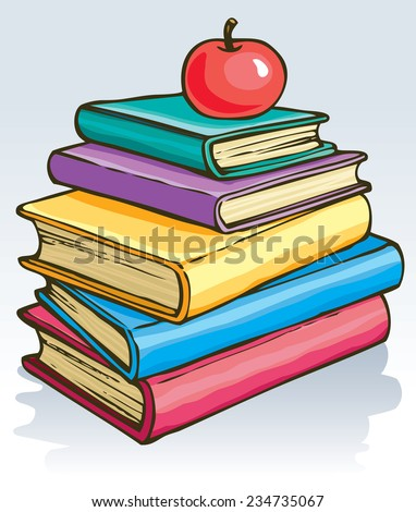 Vector illustration. Symbol of knowledge: an apple on top of a pile of books  - stock vector