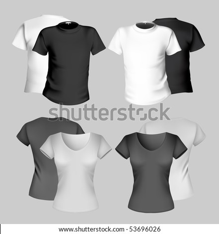 Vector illustration. T-shirt design template (men and women). Black and white. - stock vector