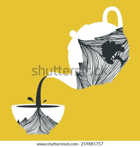 Vector illustration. Teapot with mountains and tree and cup with the same design. Pours tea from a teapot, cup filling symbolic - stock vector