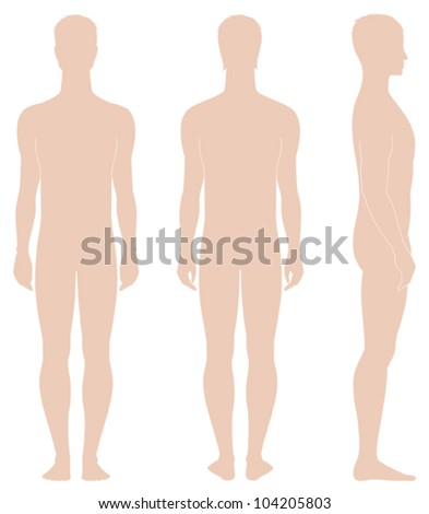 Vector illustration. Template of man's figure. Silhouettes. Front, back, side views - stock vector