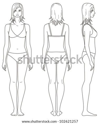 Vector illustration. Templates of woman's figure. Front, back, side views - stock vector