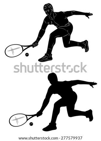 vector illustration tennis player. black silhouette on white background - stock vector