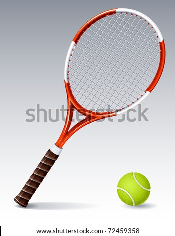 Vector illustration - Tennis racket and ball - stock vector