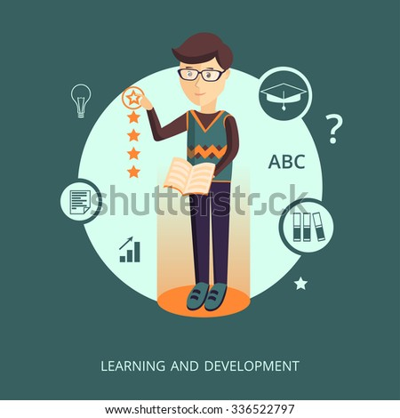"Vector illustration. The character representing the concept of ""learning and development"" - stock vector"