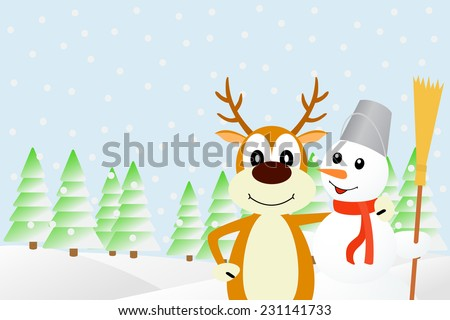 Vector illustration the deer and the snowman. - stock vector