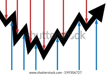 Vector/illustration. The graphic arrow is controlled by small arrows. - stock vector