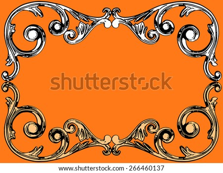 Vector illustration, the sculptural form on an orange background - stock vector